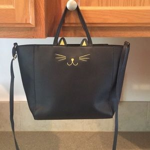 Handbags - NWOT black cat crossbody tote bag.